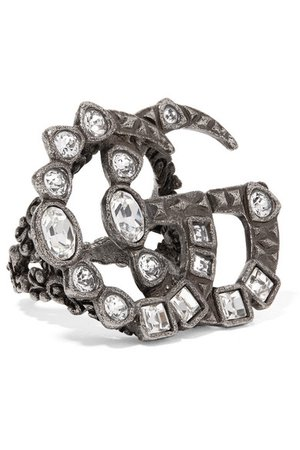 Gucci | Silver-tone crystal ring | NET-A-PORTER.COM