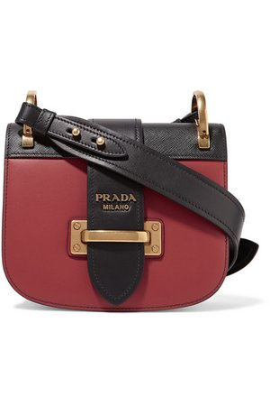 Prada | Pionnière two-tone leather shoulder bag | NET-A-PORTER.COM