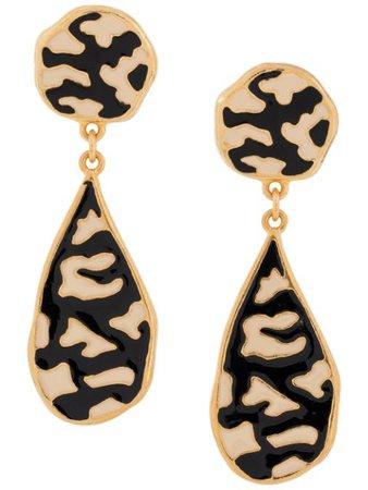 Christian Dior Zebra Enamel Earrings ML01210A Black | Farfetch