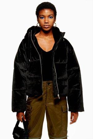 Velvet Puffer Jacket | Topshop