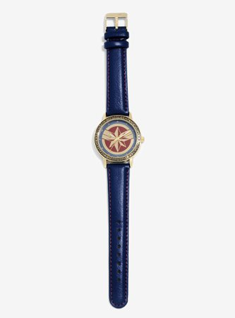 Marvel Captain Marvel Leather Watch - BoxLunch Exclusive