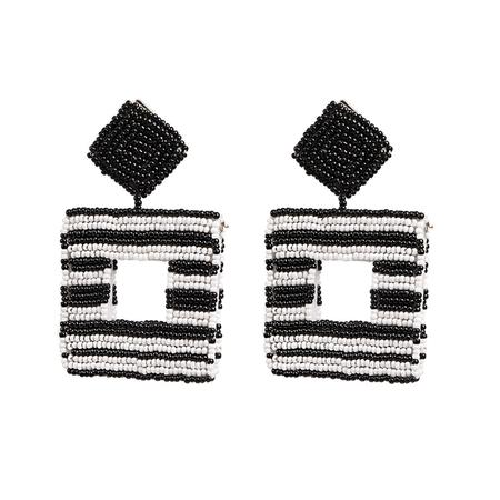 JESSICABUURMAN – DAKIO Striped Cut Out Square Earring - Pair