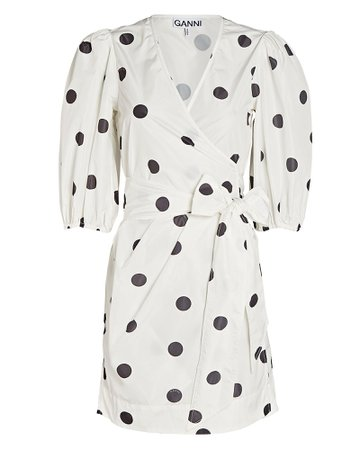 GANNI Polka Dot Mini Wrap Dress | INTERMIX®