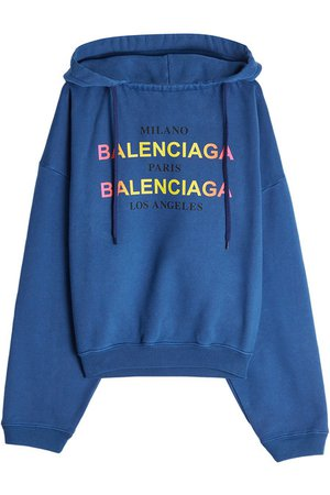 Balenciaga - Paris Milan LA Cotton Hoody - blue