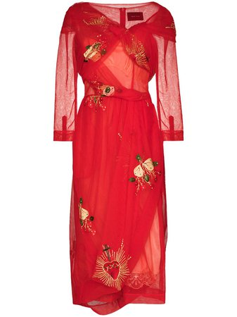 Shop red Simone Rocha x Browns 50 asymmetric wrap tulle dress with Express Delivery - Farfetch