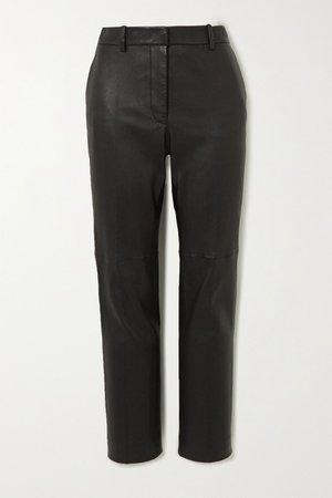 Black Coleman leather slim-fit pants | Joseph | NET-A-PORTER