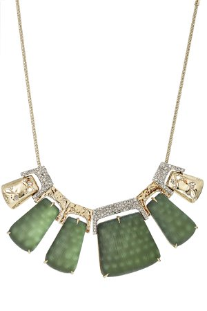 Rocky 10kt Gold Necklace with Lucite, Crystals and Rhodium Gr. One Size