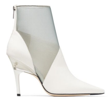 White Leather Mesh Ankle Boots