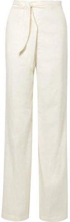 Melika Belted Linen-blend Wide-leg Pants - Ivory