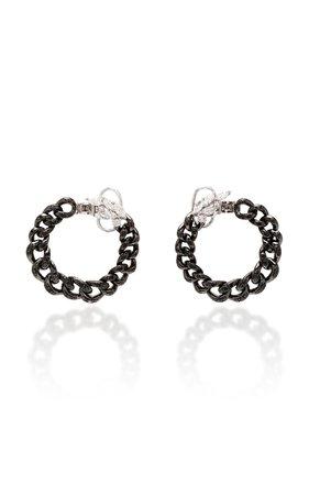 Yeprem Black Strada Chain And Diamond Coil Earrings