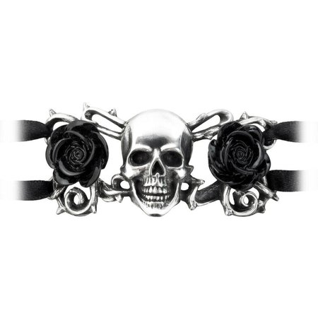 Black Punk Rose and Skull Bracelet