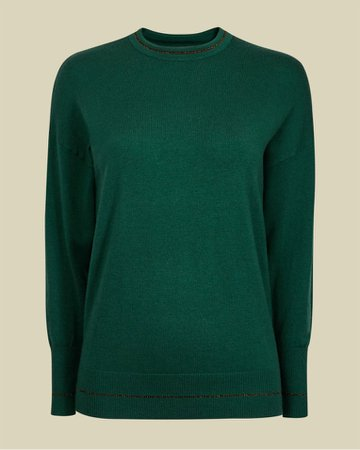 Knitted round neck jumper - Green | Knitwear | Ted Baker UK