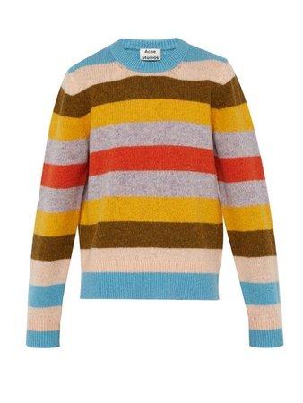 Acne Studios - Block Striped Knitted Wool Sweater - Mens - Multi