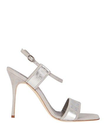 Manolo Blahnik Pitona Metallic Leather Sandals   INTERMIX®