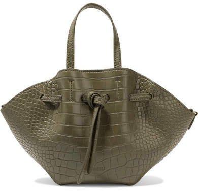 Lynne Mini Croc-effect Faux Leather Tote - Army green