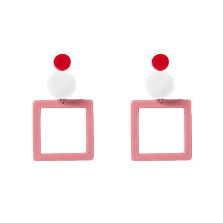 Fruta Pink Square Earrings