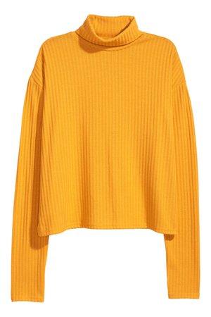 Ribbed polo-neck jumper | Yellow | LADIES | H&M ZA