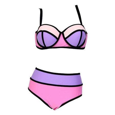 Sexy Spaghetti Strap Hit Color Plus Size Women's Bikini Set