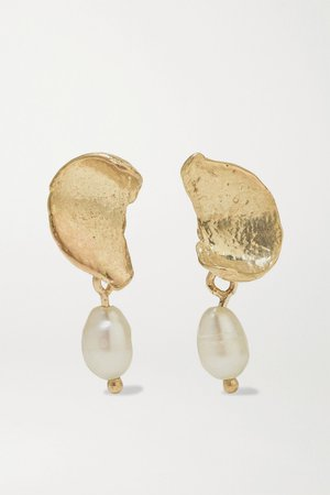 Gold + NET SUSTAIN Dewdrop gold pearl earrings | Wwake | NET-A-PORTER