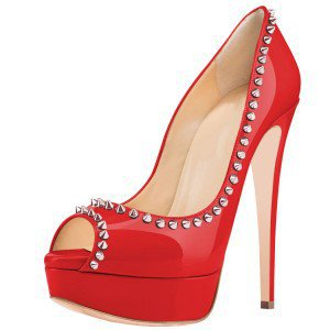 Pink Platform Heels Peep Toe Stiletto Heels Studded Pumps for Formal event, Dancing club, Ball | FSJ