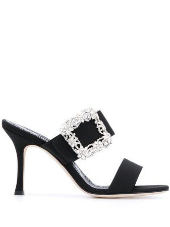 Shop black Manolo Blahnik Gable slip-on sandals with Express Delivery - Farfetch
