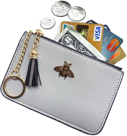Amazon.com: AnnabelZ Women's Coin Purse Change Wallet Pouch Leather Card Holder with Key Chain Tassel Zip (Light Blue)