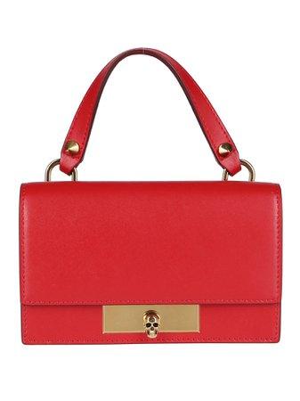 Red Leather Mini Skull Shoulder Bag