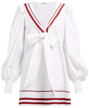 Françoise Francoise - Sailor Collar Linen Blend Mini Dress - Womens - White
