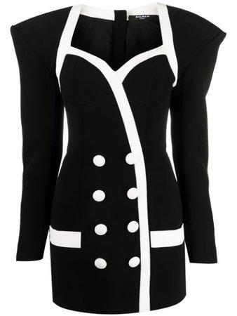Balmain short butttoned crepe dress black VF16212V089 - Farfetch