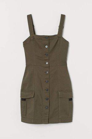 Denim Overall Dress - Green
