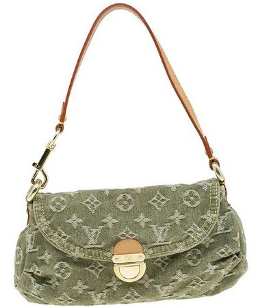 Louis Vuitton green denim mini pleaty bag