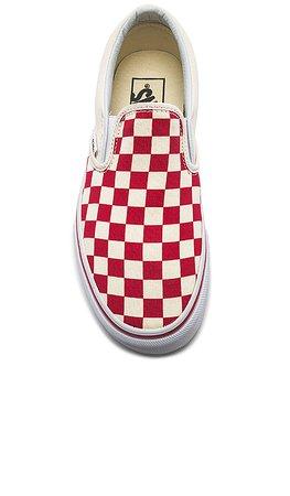 Vans Slip-On in Racing Red & White | REVOLVE