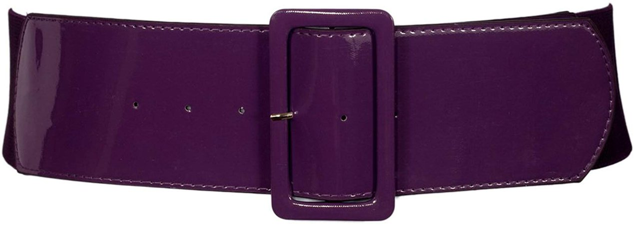 eVogues Women's Wide Patent Leather Fashion Belt Purple - One Size Junior at Amazon Women's Clothing store: