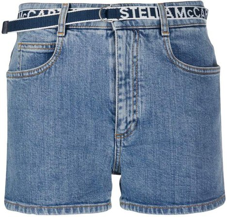 logo belt denim shorts