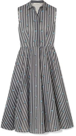 Collection - Embroidered Striped Cotton And Silk-blend Midi Dress - Gray