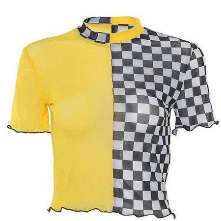 yellow checkered top