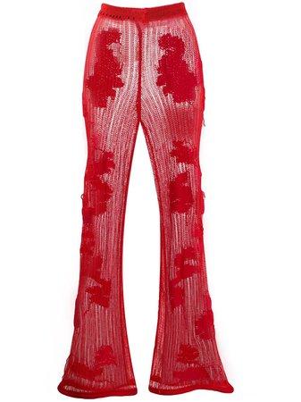 Acne Studios Crochet Floral Flared Trousers - Farfetch