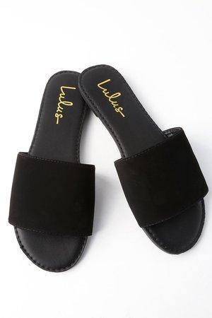 Black Slide Sandals - Black Nubuck Sandals - Vegan Sandals