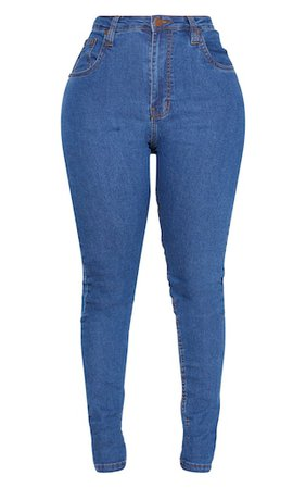 Shape Mid Wash Stretch Denim Jeans | Swimwear | PrettyLittleThing USA