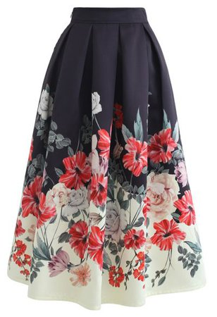 Wild Rose Print Embossed Midi Skirt - Retro, Indie and Unique Fashion