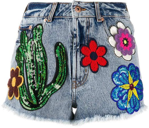 Martinique multi-patch denim shorts