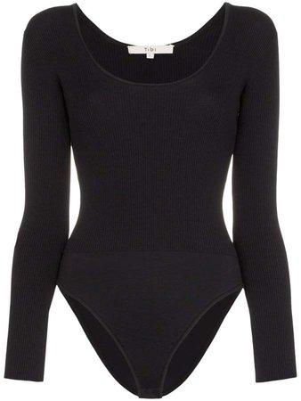 scoop-neck long sleeve bodysuit