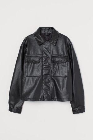 Boxy Faux Leather Jacket - Black
