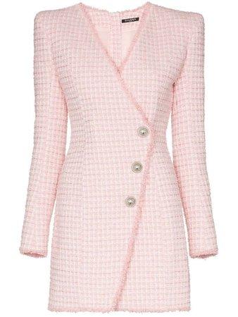 BALMAIN asymmetric-button tweed blazer dress