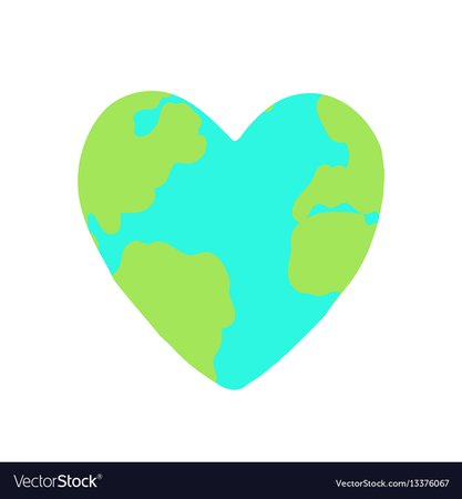 Heart shaped planet earth Royalty Free Vector Image