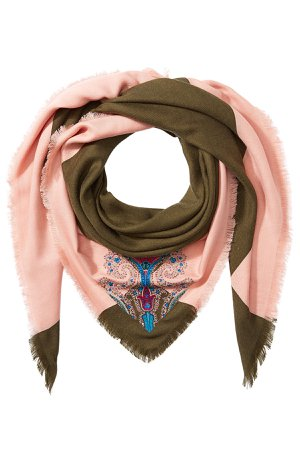Embroidered Cashmere Scarf with Silk Gr. One Size