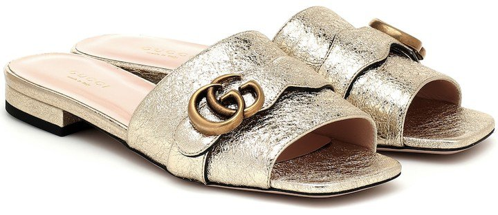 Double G metallic leather slides