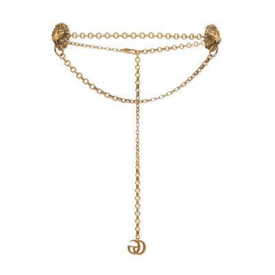 Gold Chain belt with lion heads | GUCCI® US