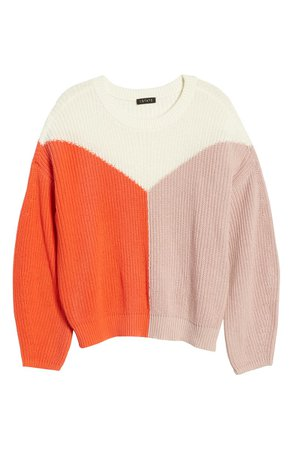 1.STATE Colorblock Crewneck Cotton Sweater | Nordstrom