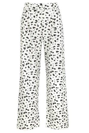Animal Print Pleat Front Super Wide Leg Trouser | boohoo white